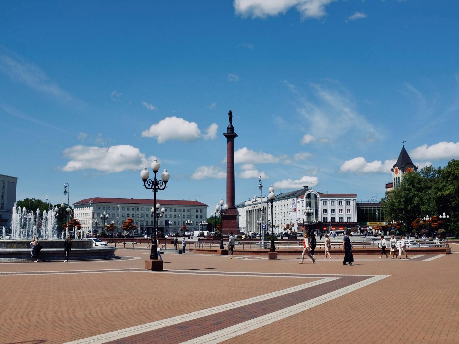 Ploshchad Pobedy, Victory Square, in northern Kaliningrad, Russia.