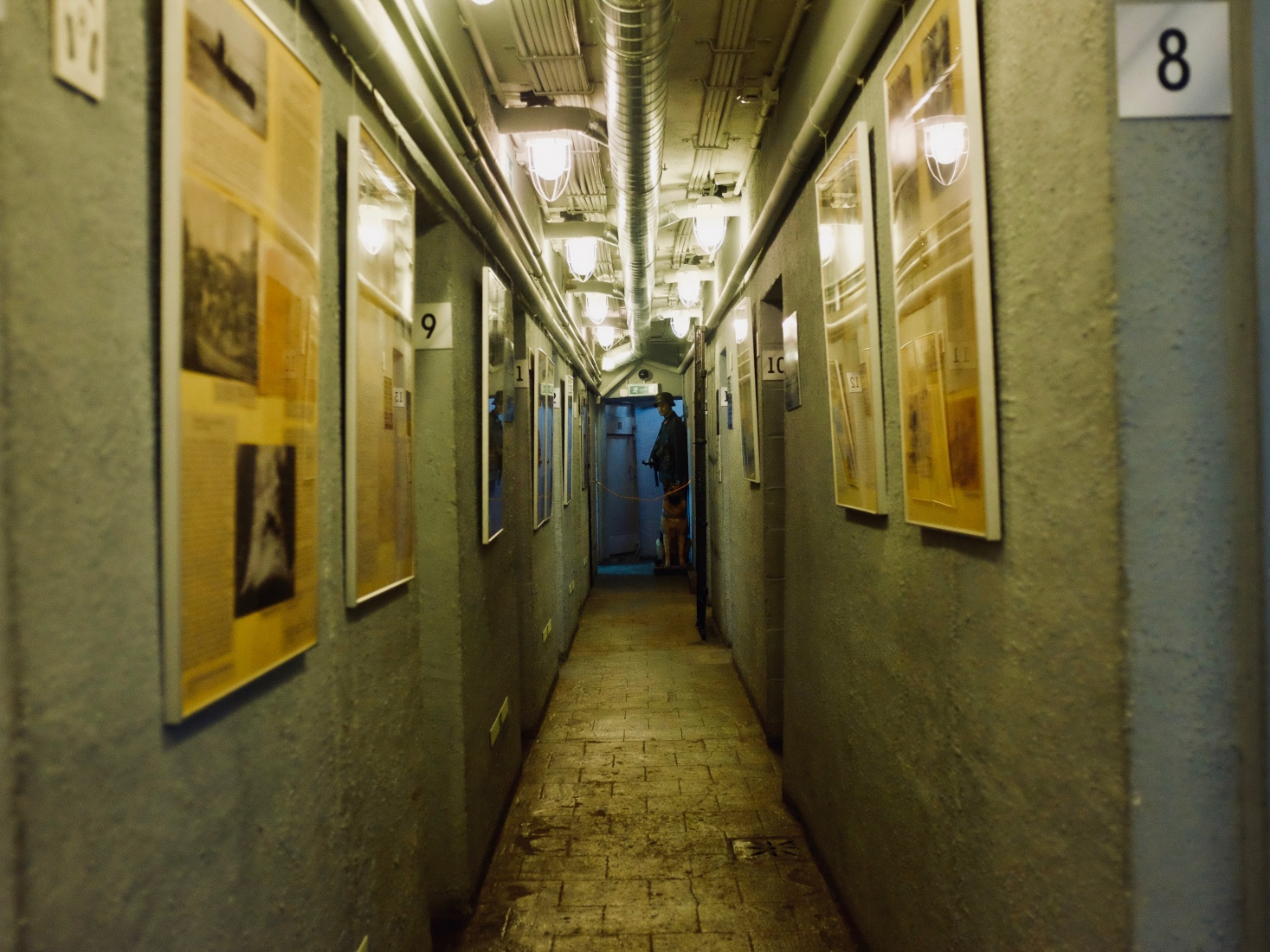 Dark, narrow corridor of former German WWII command bunker, now a museum in Kaliningrad, Russia. Where Russians and Germans met in April 1945 to negotiate the surrender of the city, then Königsberg.