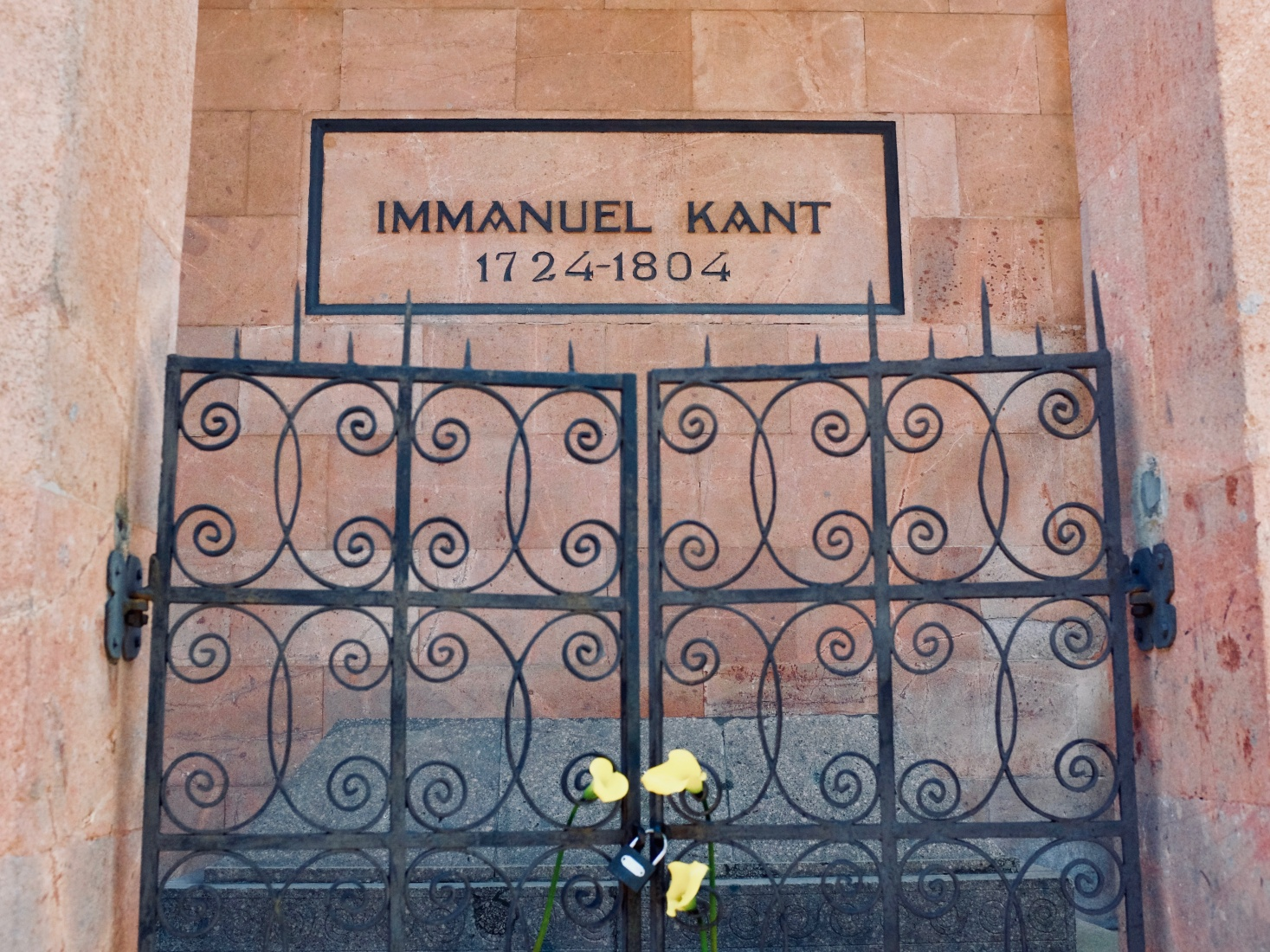 Tomb of philosopher Immanuel Kant at the northern exterior of Kaliningrad Cathedral on Kant Island, in the Russia enclave in the EU.