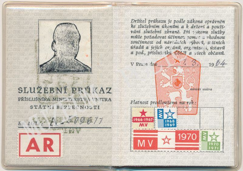 A sample service ID of the notorious Czechoslovak State Security Service  (Státní bezpečnosti StB) from the early-1970s. Little did I realize at the  time bf7d4f217b