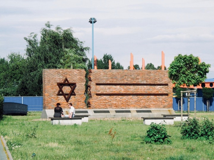A holocaust memorial in Częstochowa, Poland, marking the former deportation site from where the city's Jews were taken to their deaths in concentration and extermination camps.