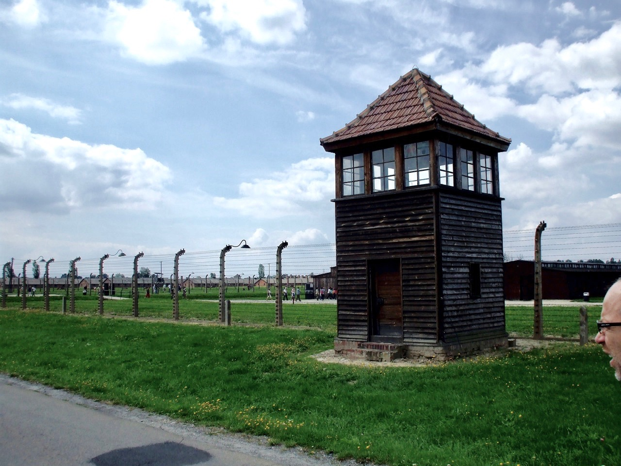 A guard tower at Birkenau, part of the former German Nazi Concentration and Extermination Camp at Auschwitz-Birkenau, in Oświęcim, Poland.