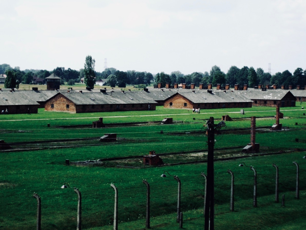 Simple Holocaust architecture of the buildings in the Auschwitz-Birkenau complex, dozens of short former prisoner huts in a green field surrounded by barbed wire. Part of the former German Nazi Concentration and Extermination Camp at Auschwitz-Birkenau, in Oświęcim, Poland.