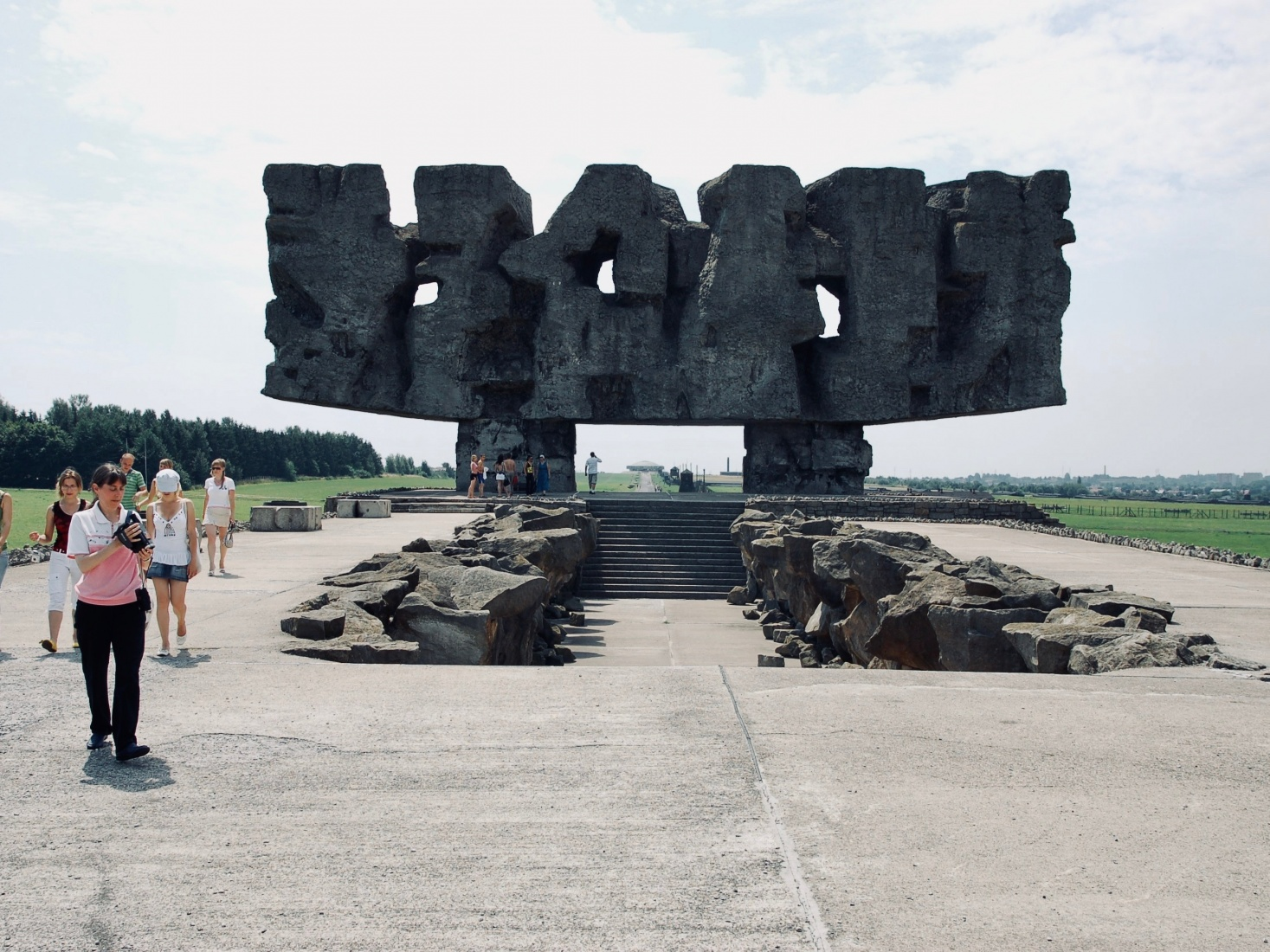 A front-view of the memorial sculpture by Victor Tolkin at the Majdanek concentration camp, outside Lublin, Poland.