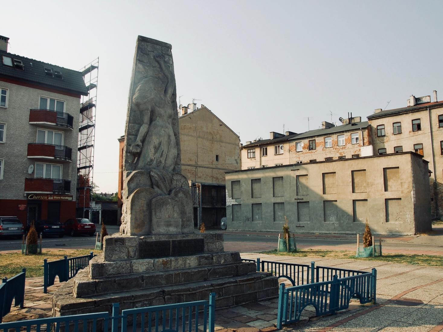 A Holocaust memorial in Radom, Poland, marking the site of a former synagogue.