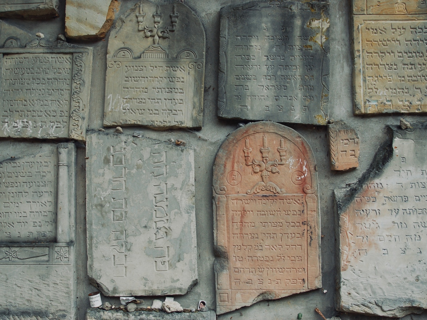 The walls of Kazimierz Dolny's former Jewish cemetery, built from the remains of recovered Jewish tombstones, found in Kazimierz Dolny, Poland.