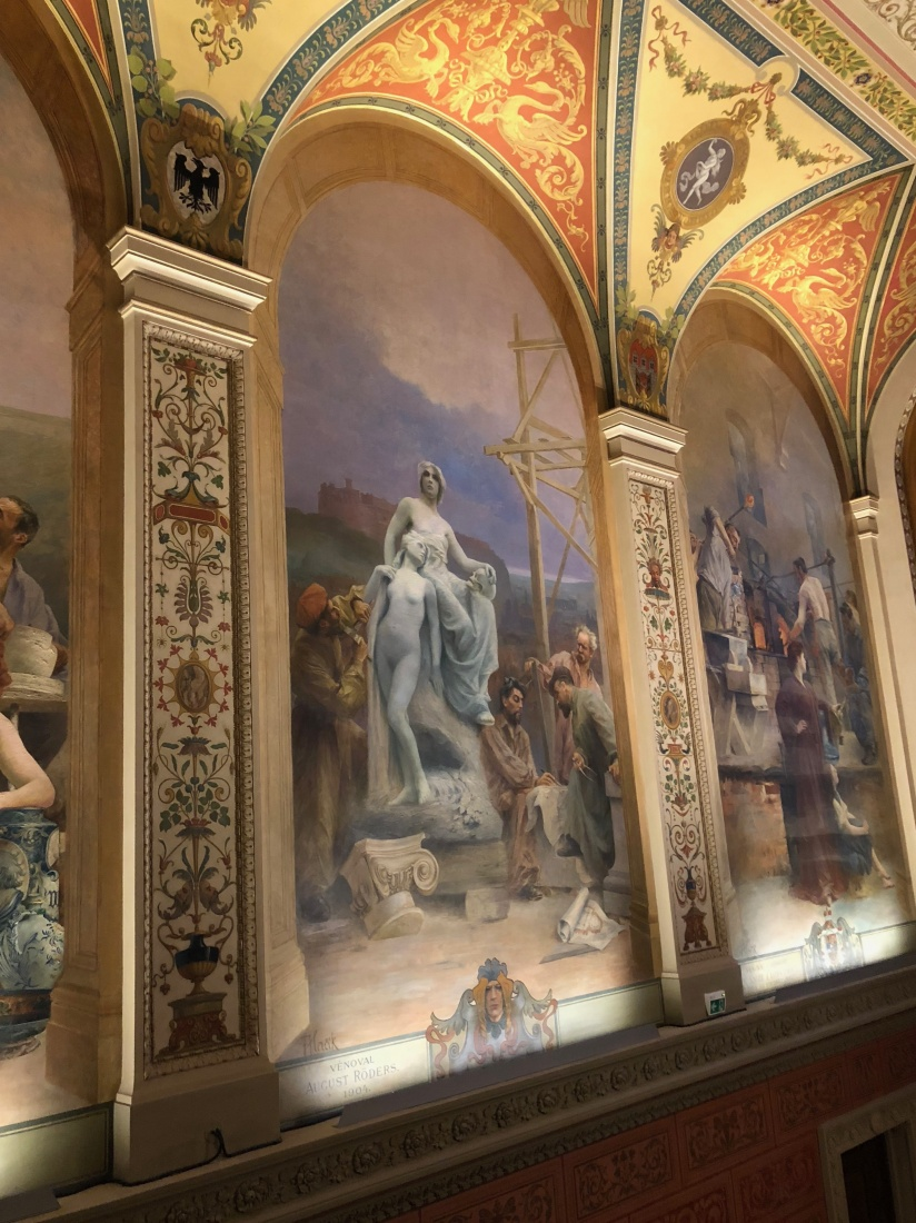 Completed restoration work on the turn-of-the-20th-century murals that line the Prague Museum of Decorative Arts.