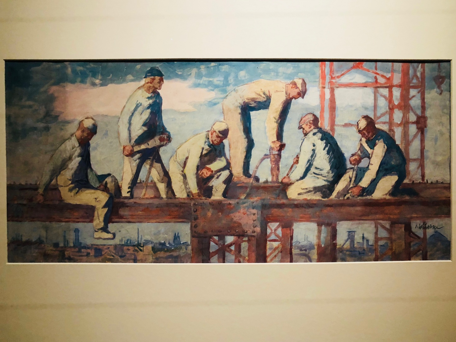 A typical art piece celebrating the heroic efforts of workers, a hallmark of the Socialist-Realism phase of art and architecture of the early 1950s.