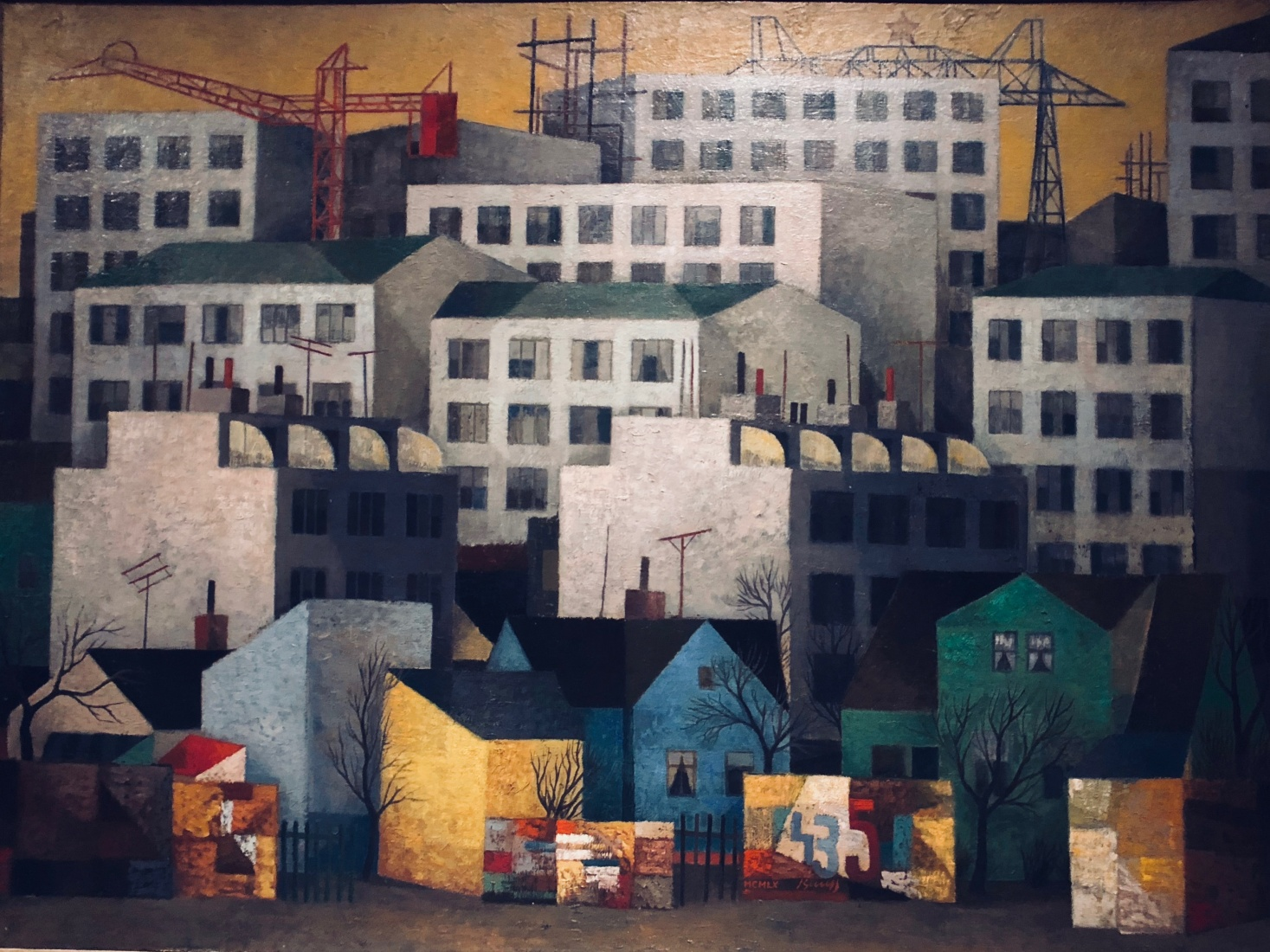 A picture of prefabricated housing blocks from 1960 by Czech painter Vlastimil Beneš (1919-81).