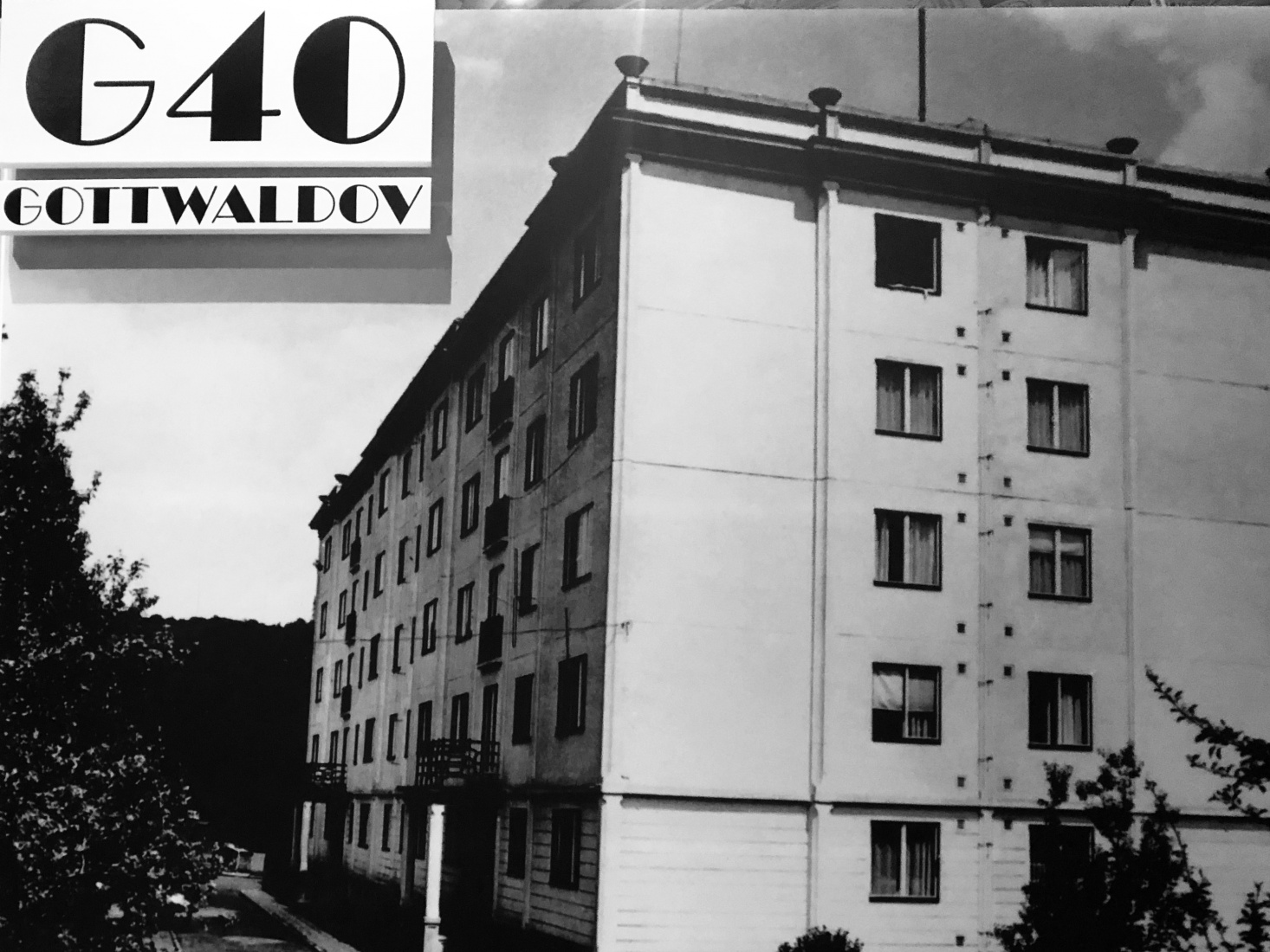 A block of concrete panels, the eastern Czech city of Gottwaldov (now Zlín, Czech Republic).