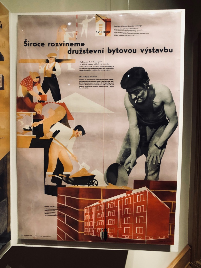 A typical propaganda poster from the 1960s, promising a solution to the housing shortage by building an additional 1.2 million apartments by 1970.