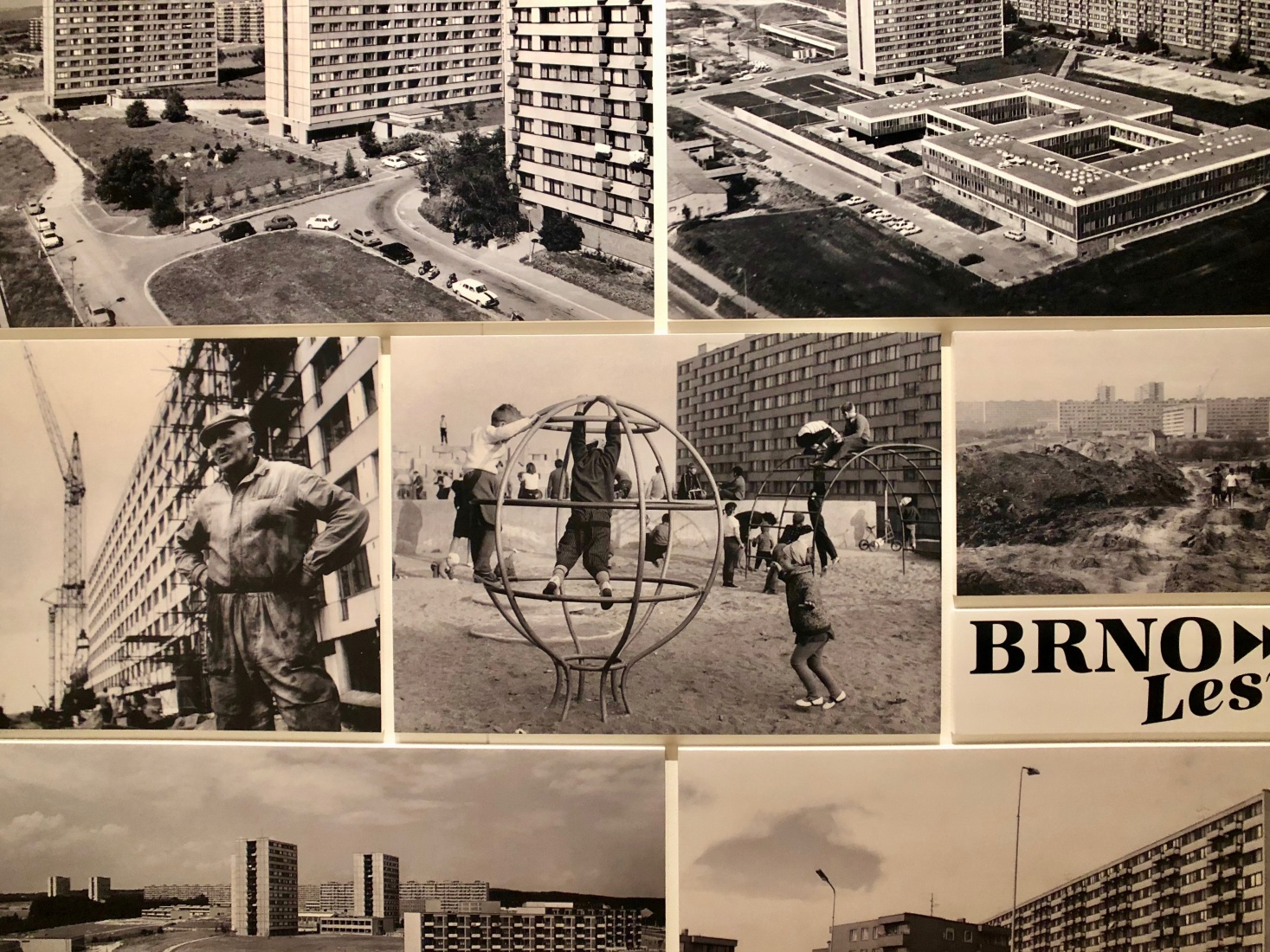 Photos of the work of Sídliště Brno-Lesná (1962-70), the first large Socialist-era housing project to be built in the city of Brno and features prominently in the Museum of Decorative Arts' exhibition on postwar, prefab housing.