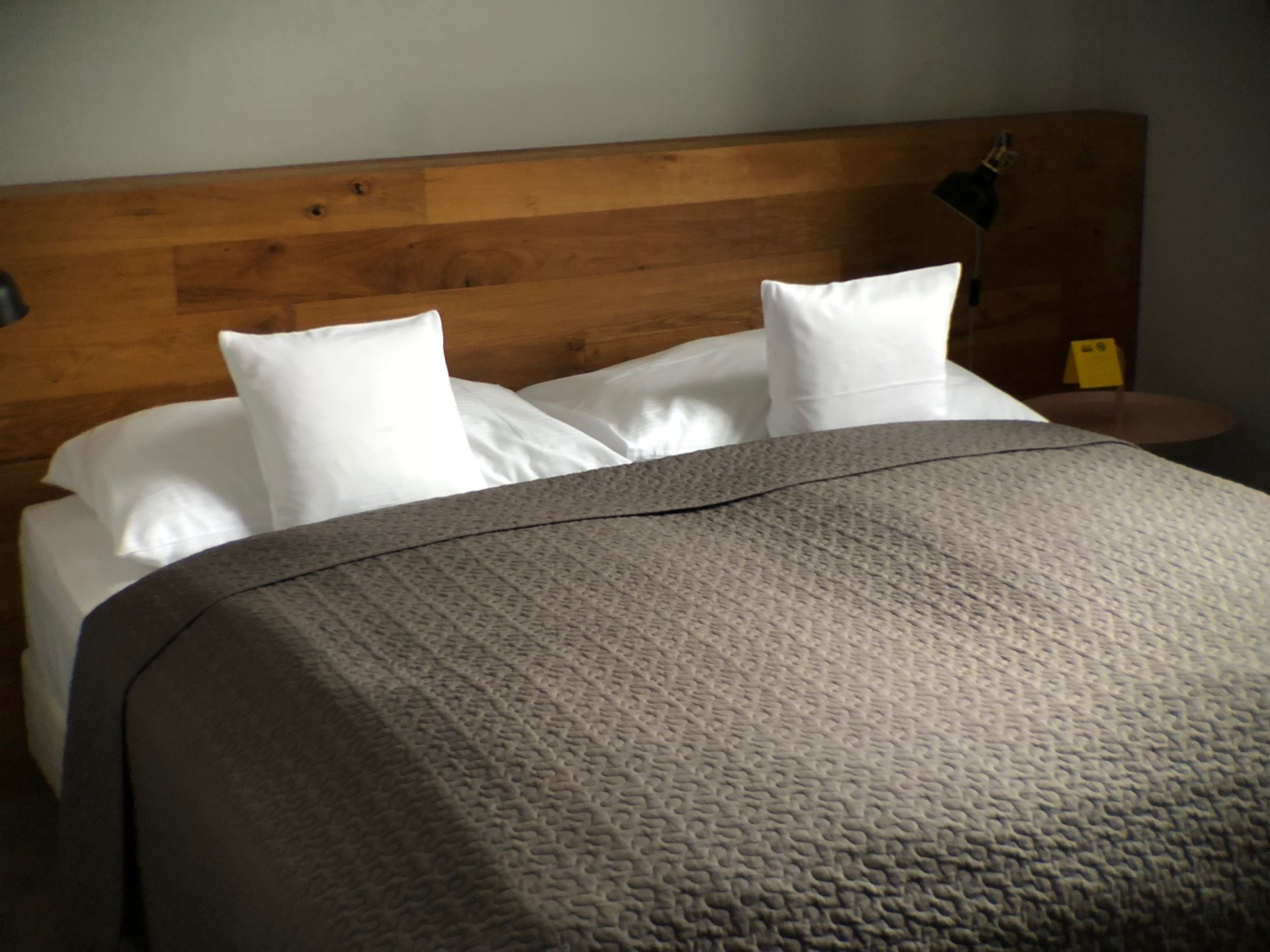 The comfy bed at City.city hotel in Ostrava, Czech Republic.