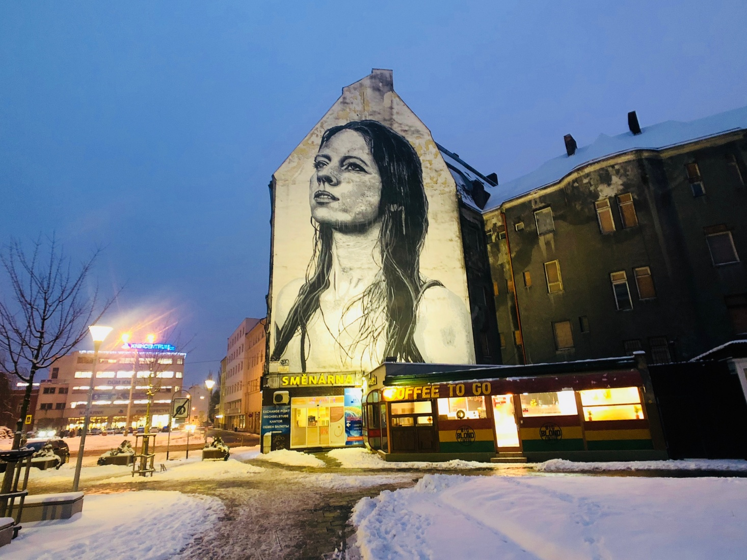 An oversized mural on the side of a building near the center of Ostrava, Czech Republic, called the 'Madona Ostravica' and by Belgian-American street artist Nils Westergard.