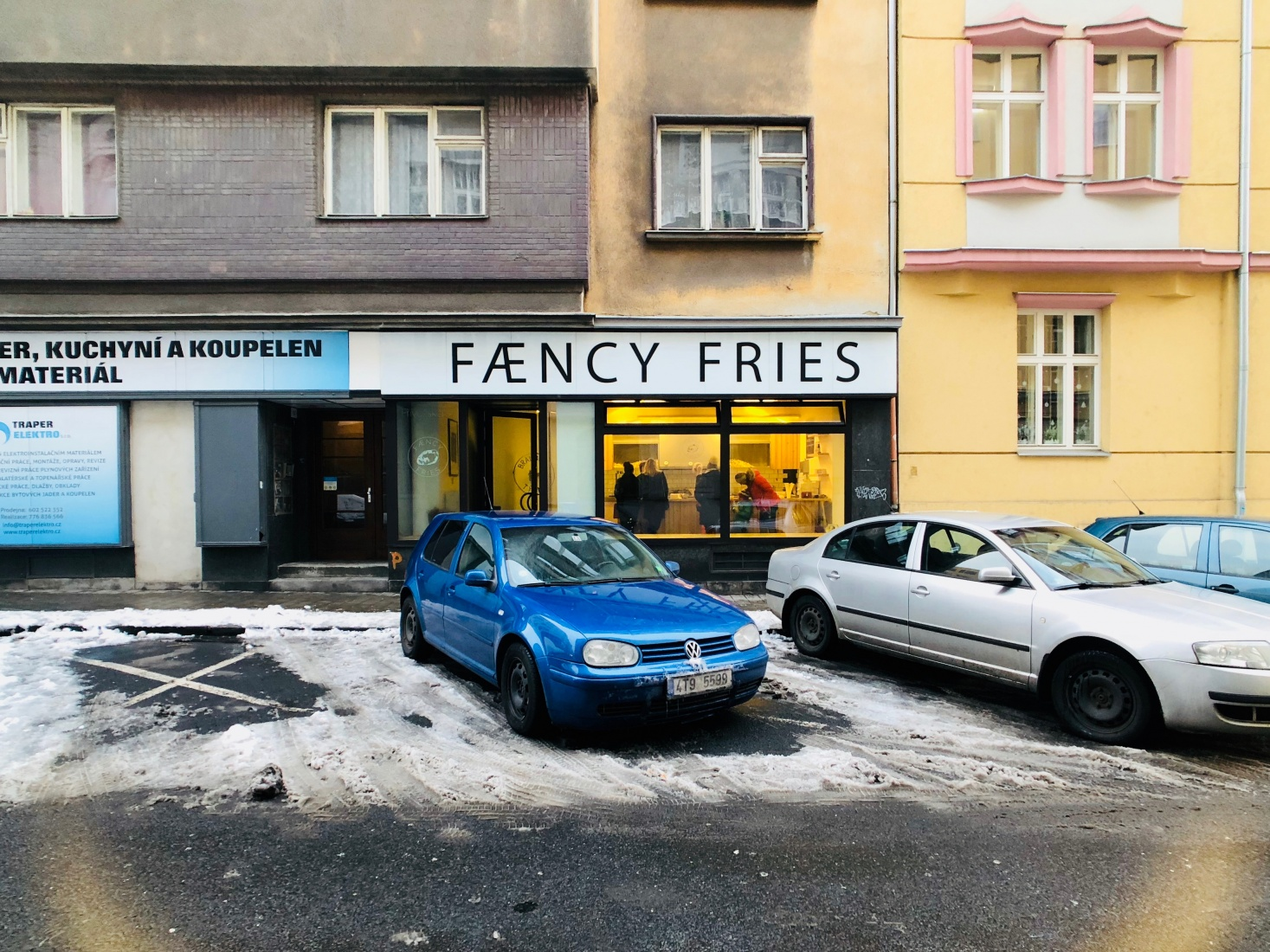 Renowned street food option at Faency Fries, where they serve Belgian fries, a short walk from the center of Ostrava, Czech Republic.
