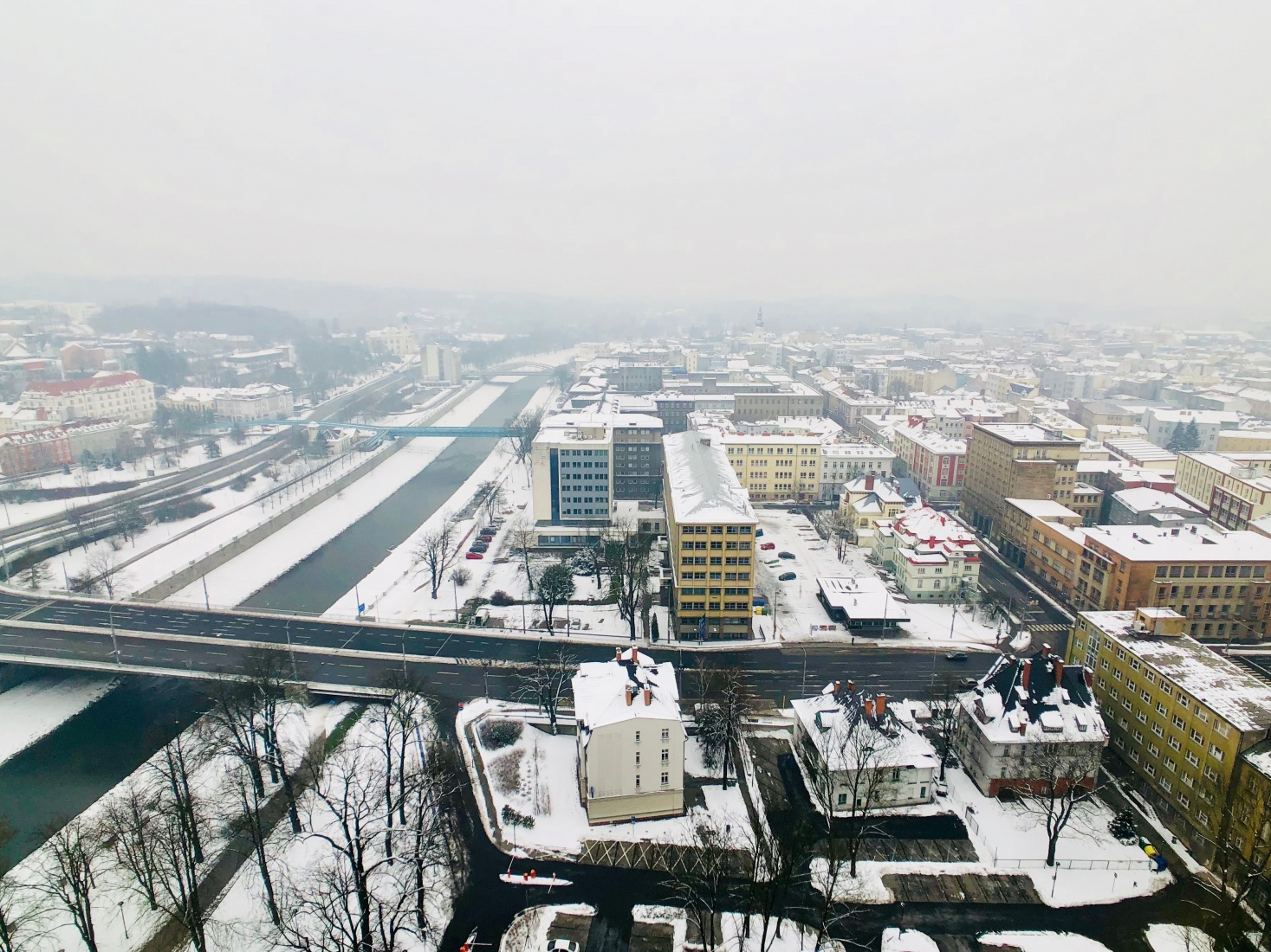 Looking toward the Ostrava, Czech Republic, historic core in the distance from the New Town Hall tower.