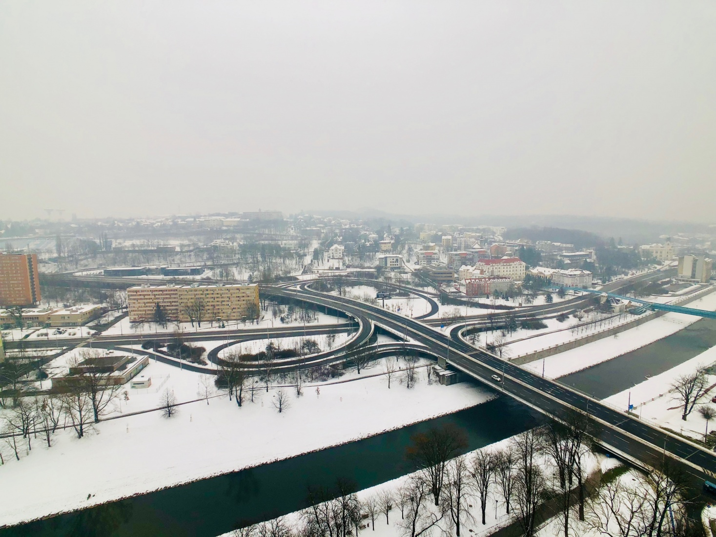 Looking out over the Ostravice River to the Silesian side of Ostrava, Czech Republic from the city's New Town Hall tower.