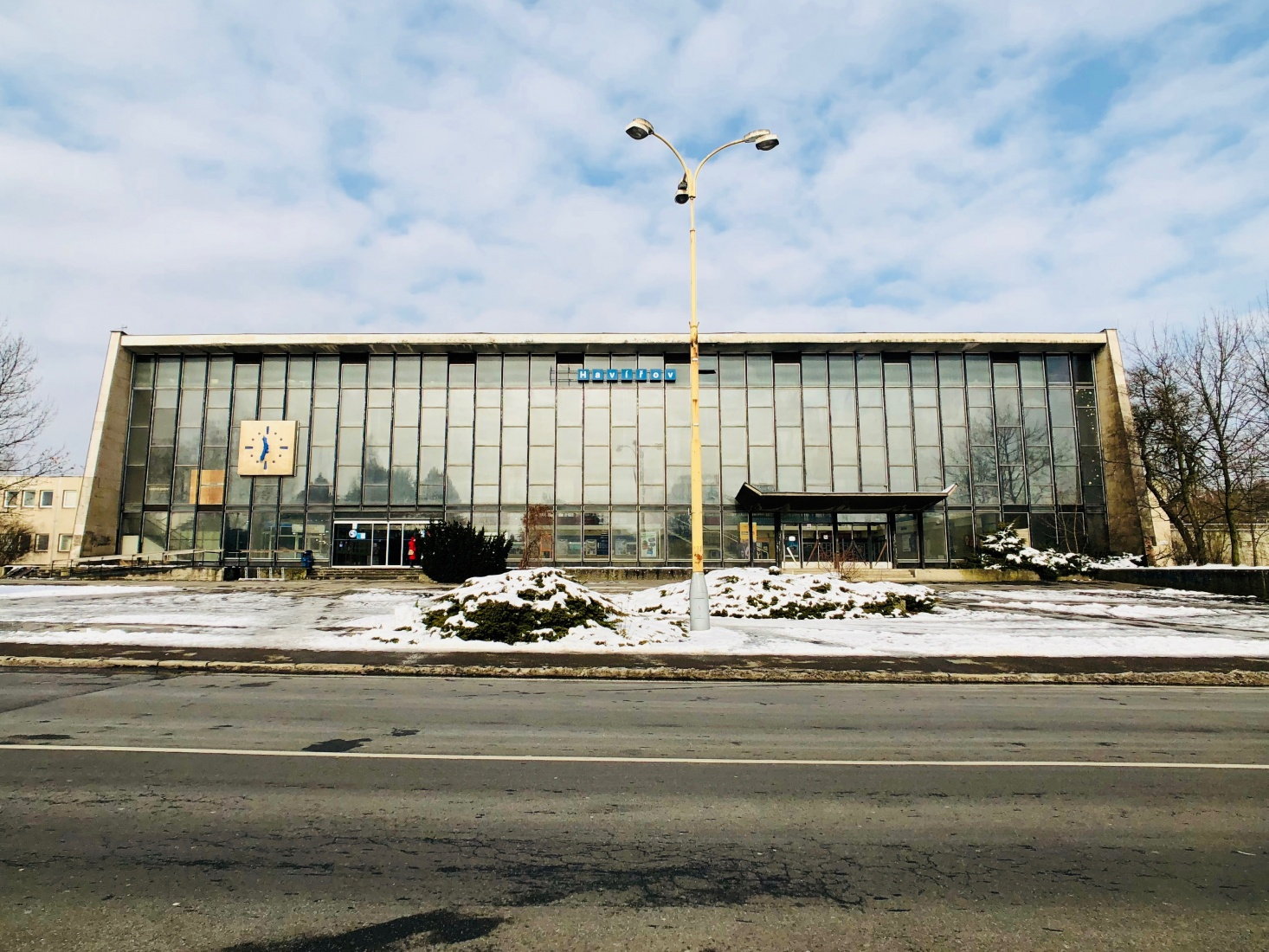 The train station exterior, the trapezoidal shape, like a TV from the 1950s, visible outside, in the Czech-Silesian mining city of Havířov, Czech Republic.