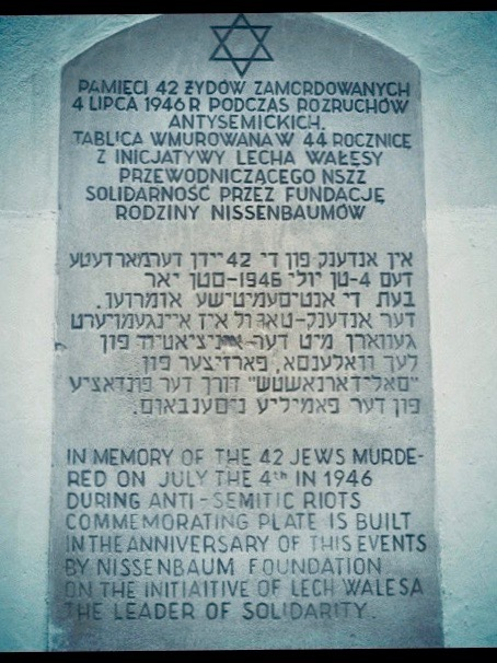 A memorial plaque, shaped like a grave stone, remembering the Kielce pogrom of 1946, in which 42 Jewish people were brutally murdered.