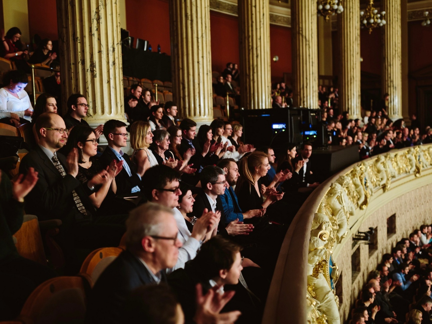 People in the crowded audience at the Rudolfinum's Dvořák Hall, in Prague, Czech Republic. Photo credit: Dušan Vondra.