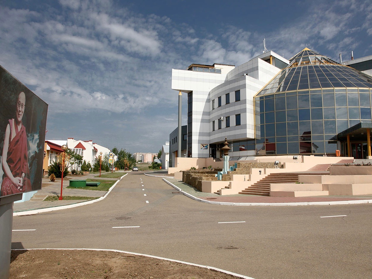 The main building of the 'City Chess' complex, outside the center of Elista, Russia, in the Kalmyk region. Photo credit: JialiangGao.