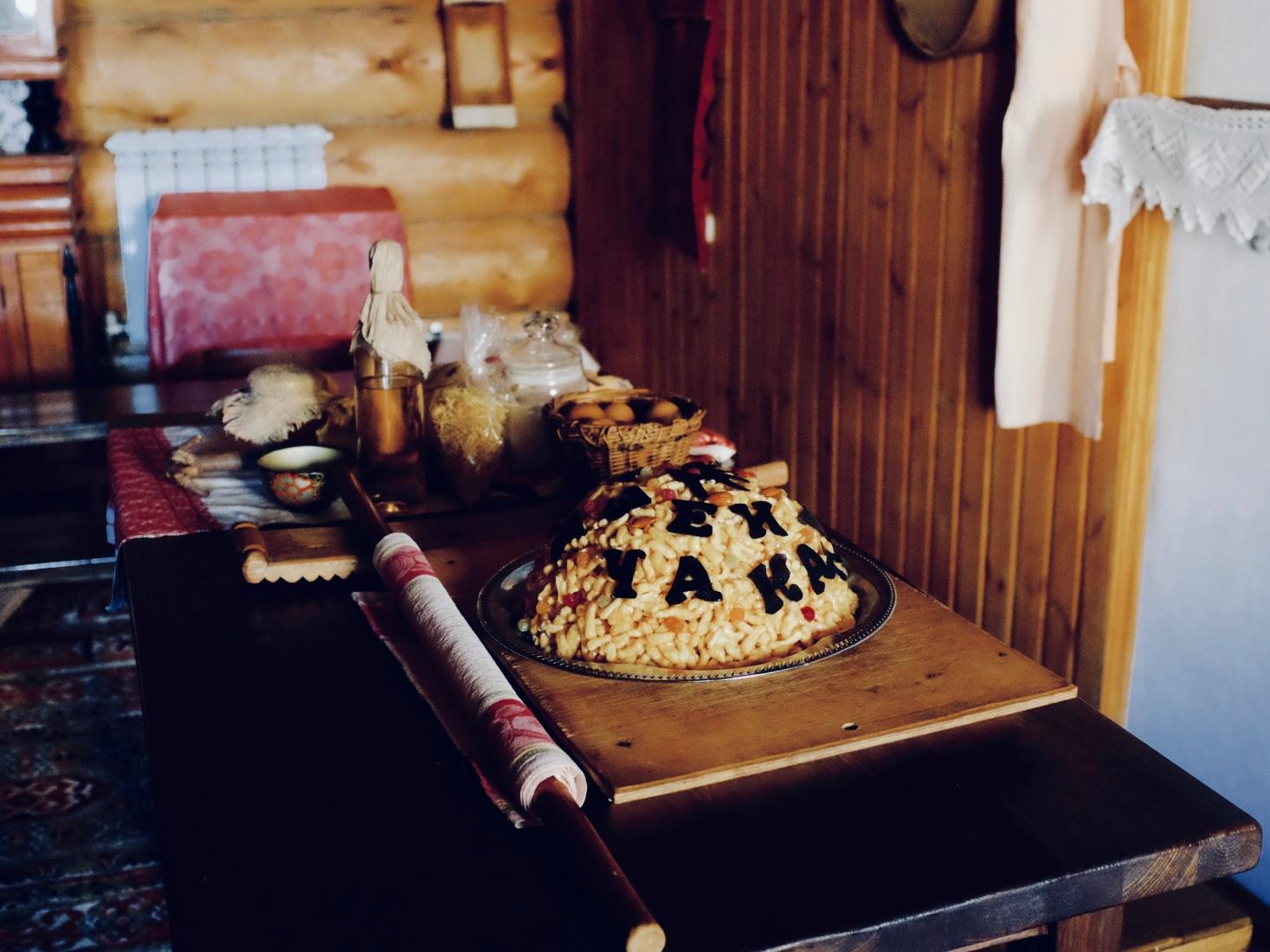 Traditional Tatar chak-chak at the Chak-chak museum, Kazan, Tatarstan, Russia.