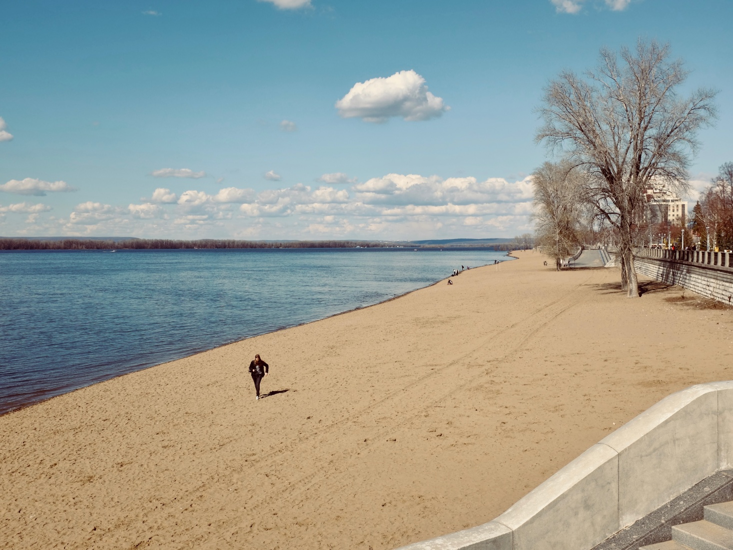 The beach along the Volga River, in Samara, Russia.