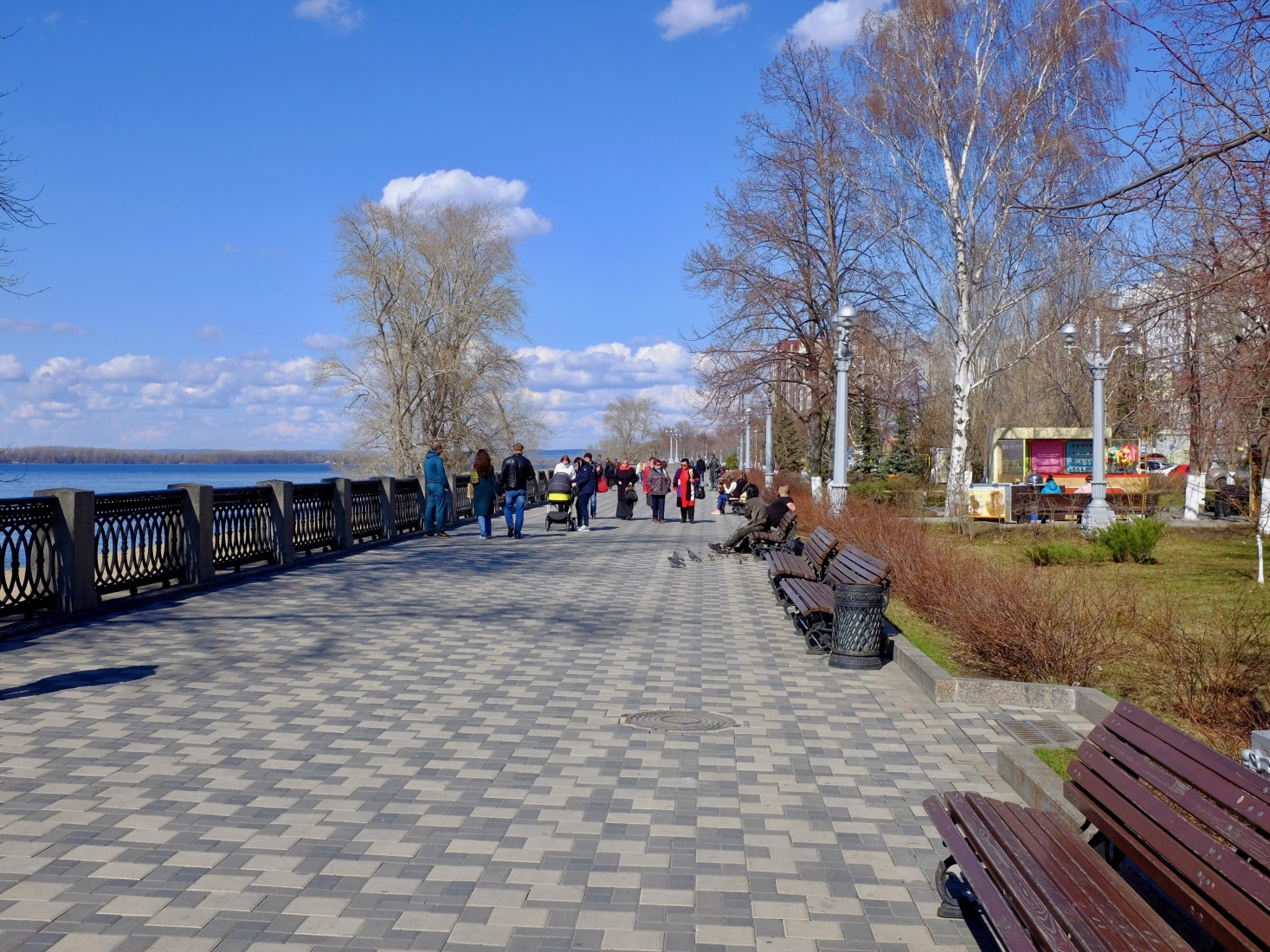 Long, new riverside promenade in Samara, Russia.
