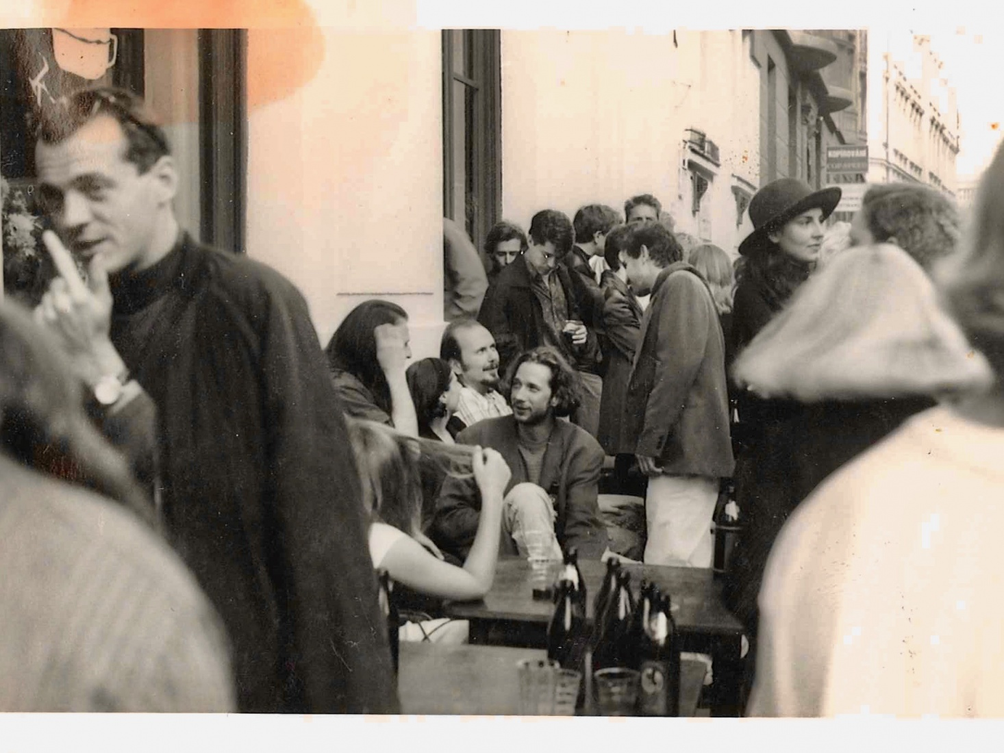 Crowds at the opening party in July 1993 for The Globe Bookstore and Coffeehouse in Holešovice, Prague.