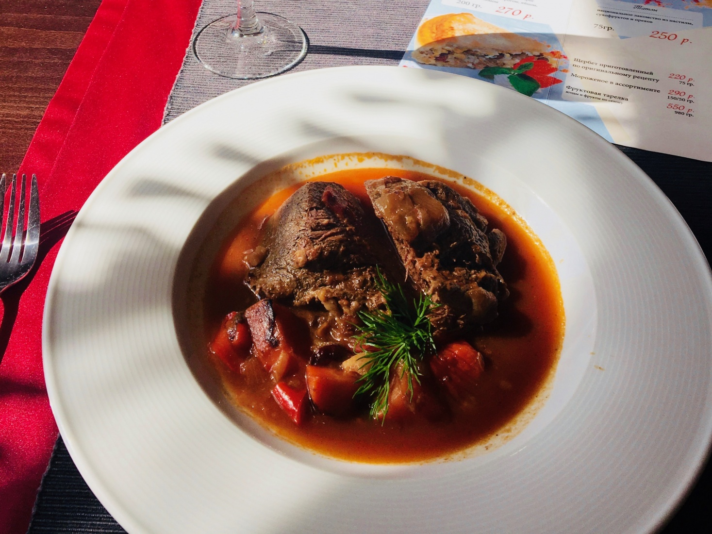 Tatar classic traditional dish horse meat stew at Dom Tatarskovy Kulinarii, Kazan, Tatarstan, Russia.