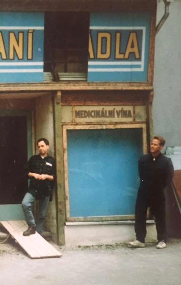 Mark Baker and Jasper Bear during early stages of renovations on The Globe Bookstore and Coffeehouse in Holešovice, Prague. 1993. Photo courtesy of Scott and Markéta Rogers.