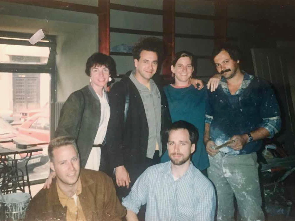 The five original partners - Jasper Bear, Maura Griffin, Scott Rogers, Markéta Rogers (Janku), and Mark Baker - and Milan (the facade guy, upper right). 1993.