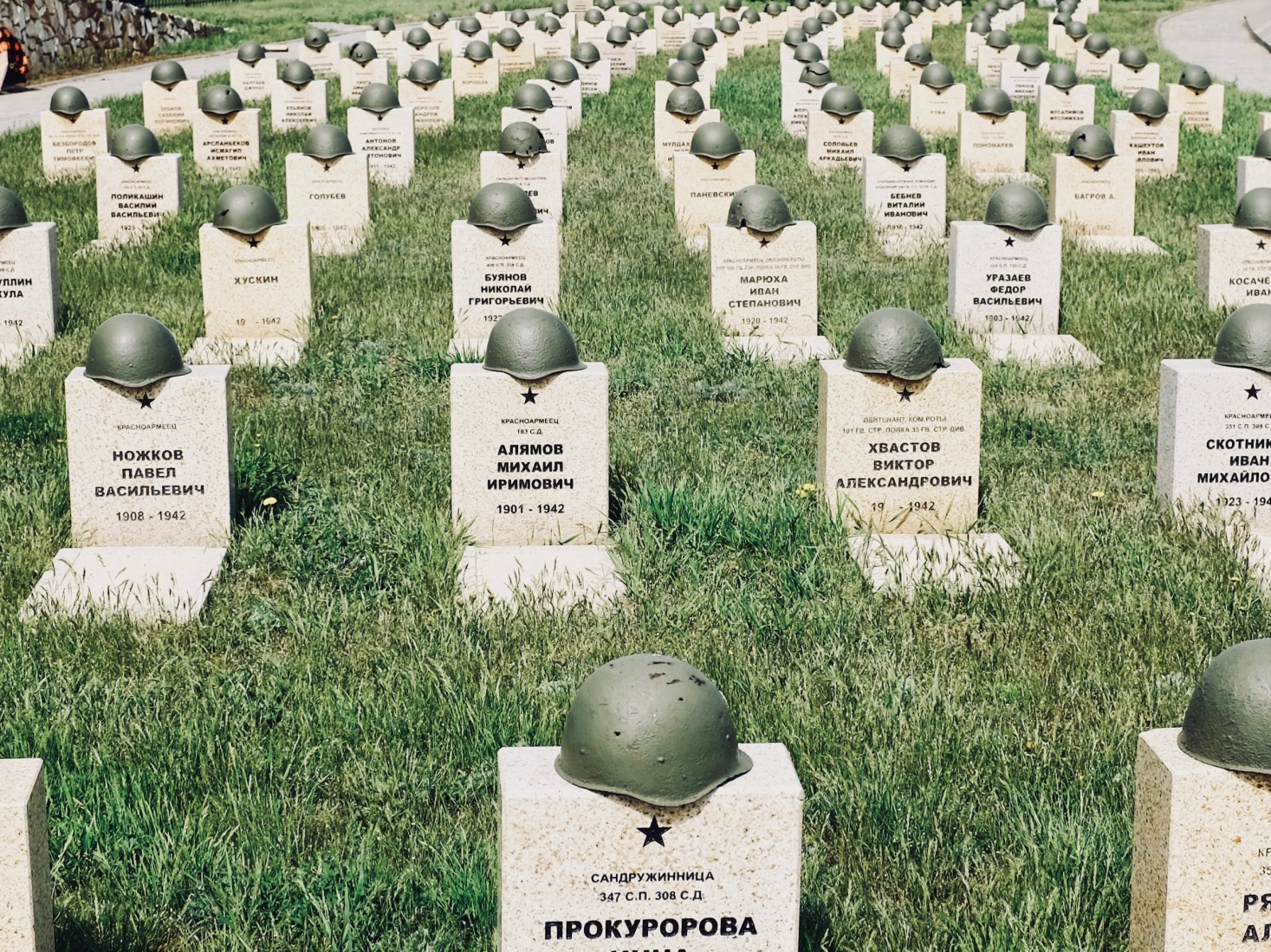 Graves in the reconciliation cemetery, Rossoshka Memorial Cemetery, with Russian, German, and Romanian soldiers buried together, outside Volgograd, Russia.