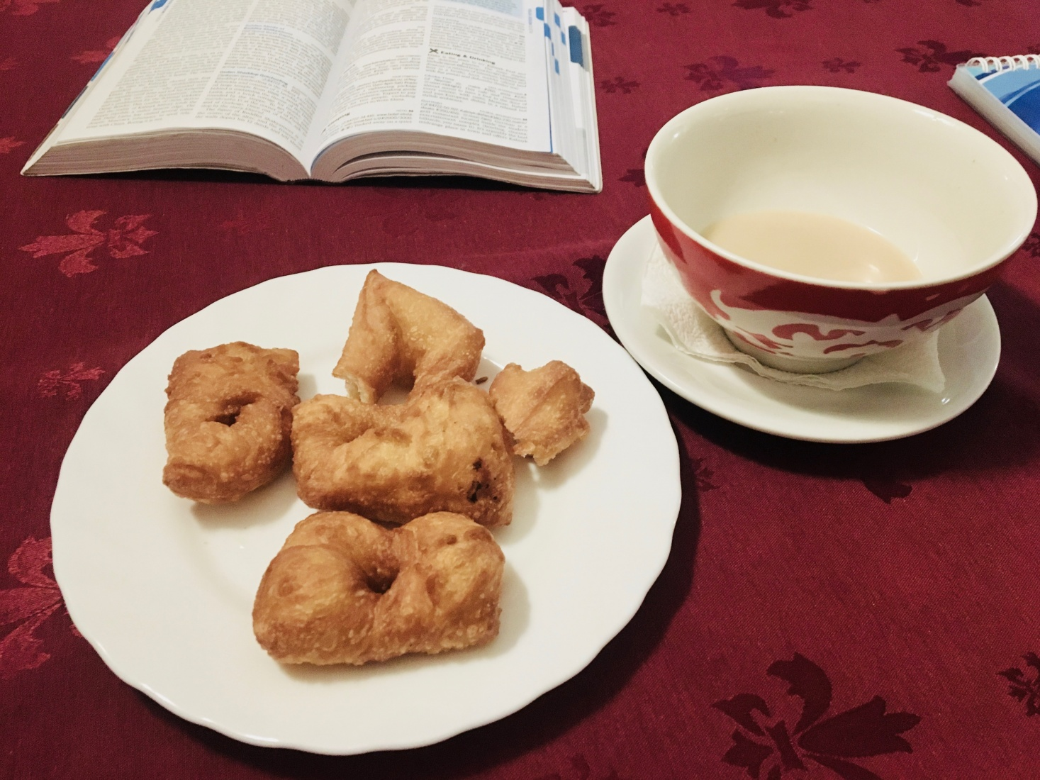 Kalmyk tea and pieces of fried dough, bortsg, served in Elista, Russia.