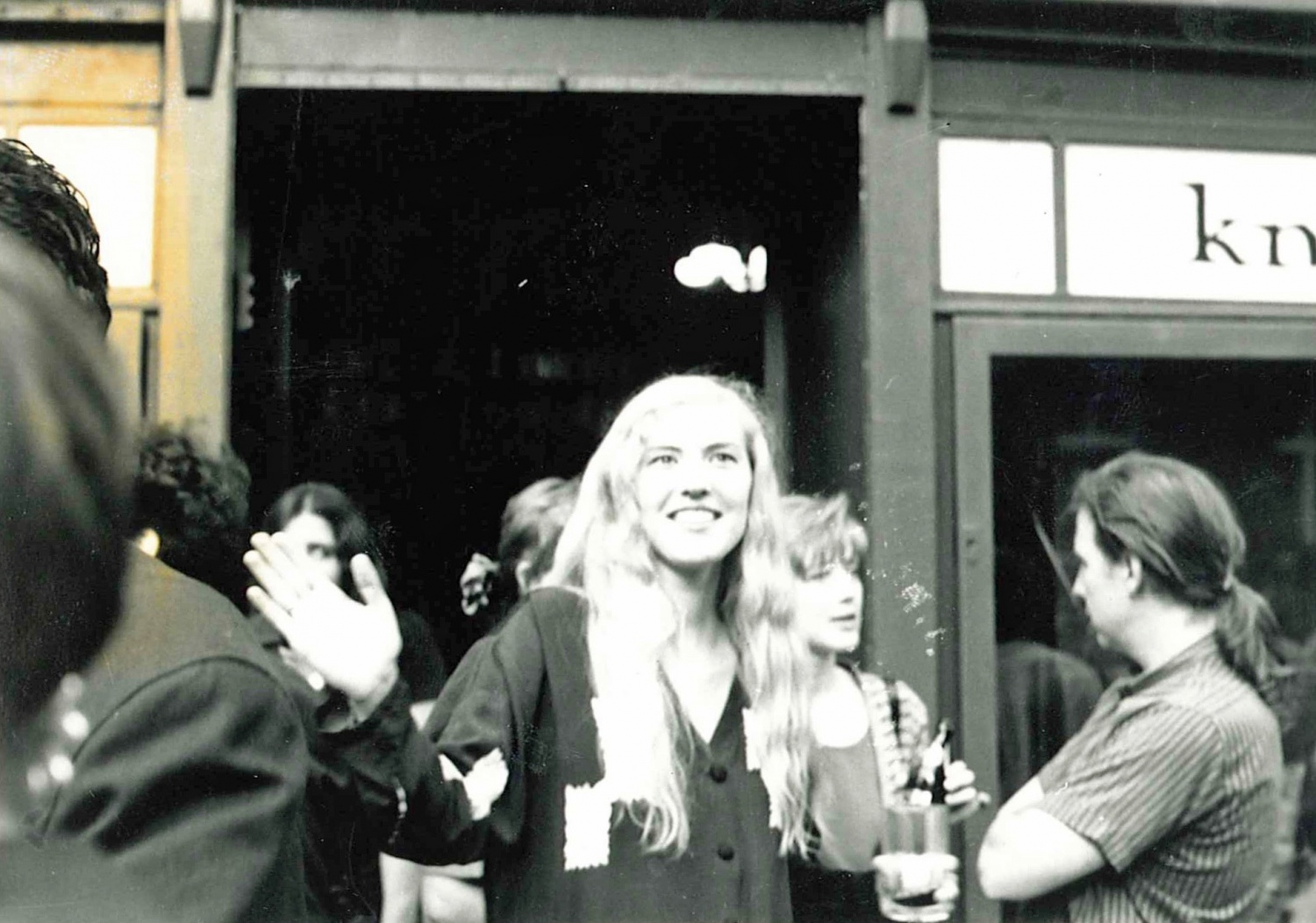 Jenny Becker at the opening party for The Globe Bookstore and Coffeehouse Holešovice, Prague. July 1993.