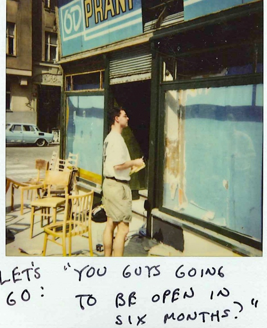 Polaroid of The Globe renovations with handwritten comment said by the