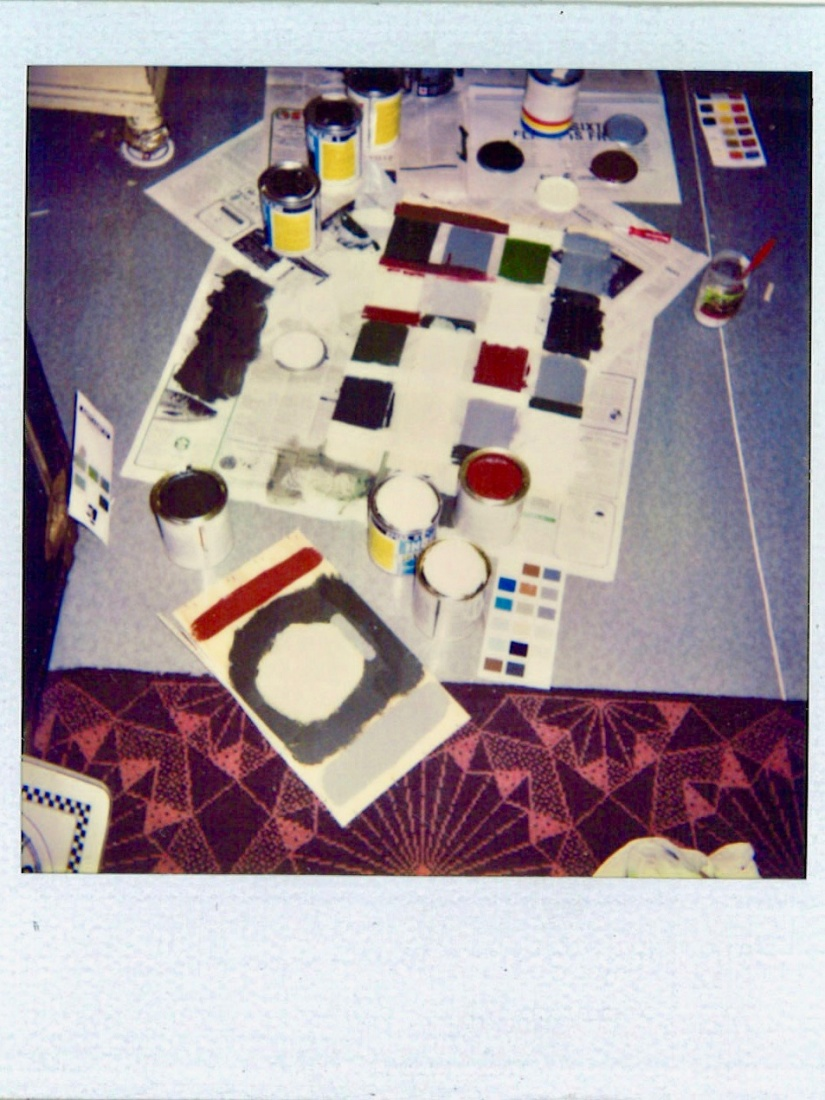 Faded Polaroid picture with paint swatches to decide which color to paint the walls at The Globe Bookstore and Coffeehouse in Holešovice, Prague, March 1993.