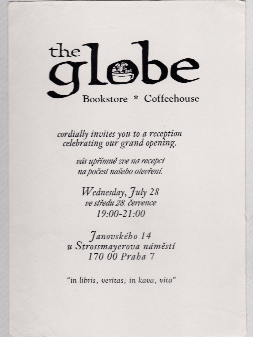 Invitation to The Globe Bookstore and Coffeehouse opening party on July 28, 1993, in Holešovice, Prague. Photo credit: Jacques Poitras.