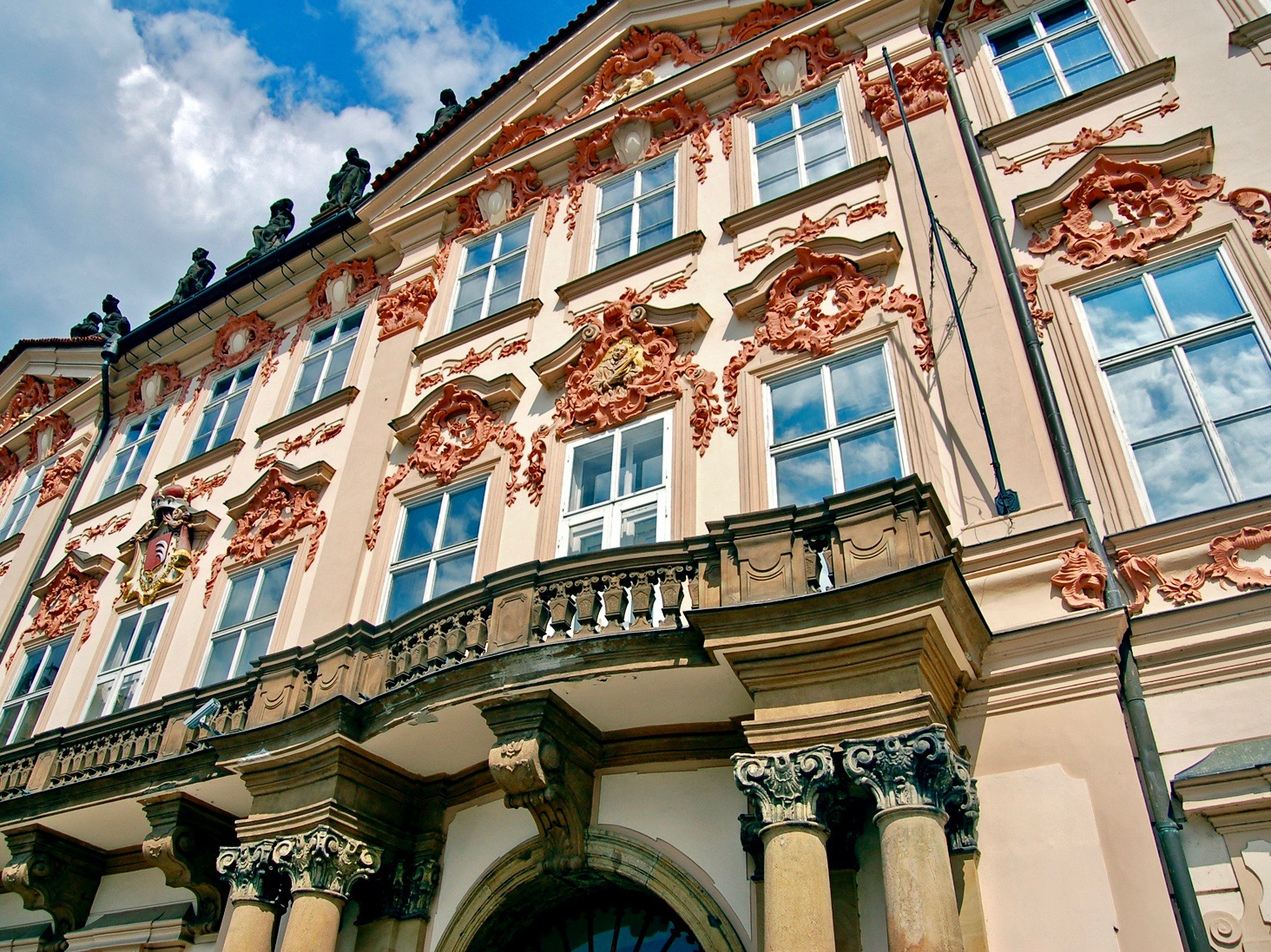 Rococo, a late Baroque architecture style, Goltz-Kinský Palace on Old Town Square from the 18th century in Prague.