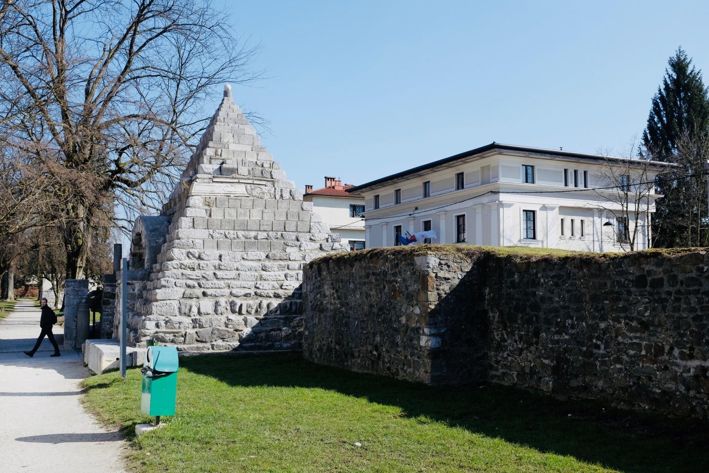Pyramid monument constructed by Jože Plečnik where a Roman wall once stood in Ljubljana, Slovenia.