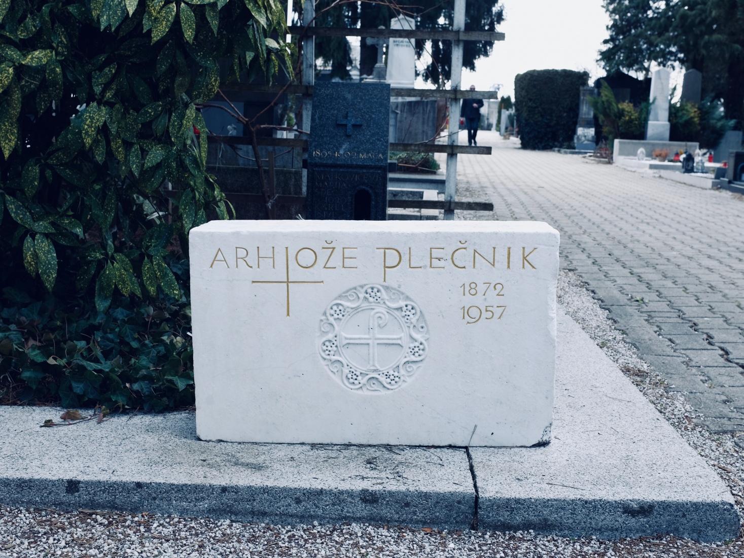 Grave-marker of famed Ljubljana-based architect and designer Jože Plečnik, in Ljubljana, Slovenia.