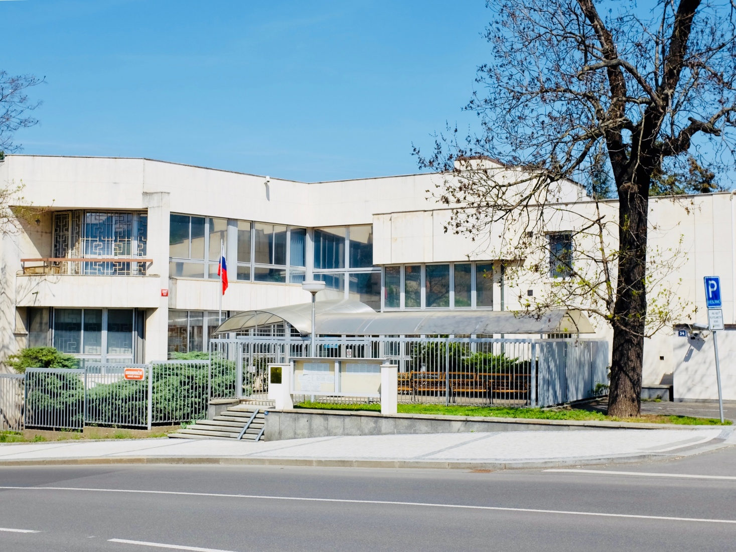 Consular, consulate offices for the Russian Federation Embassy in Prague, Bubeneč, on Korunovační street, as a part of the main embassy compound.