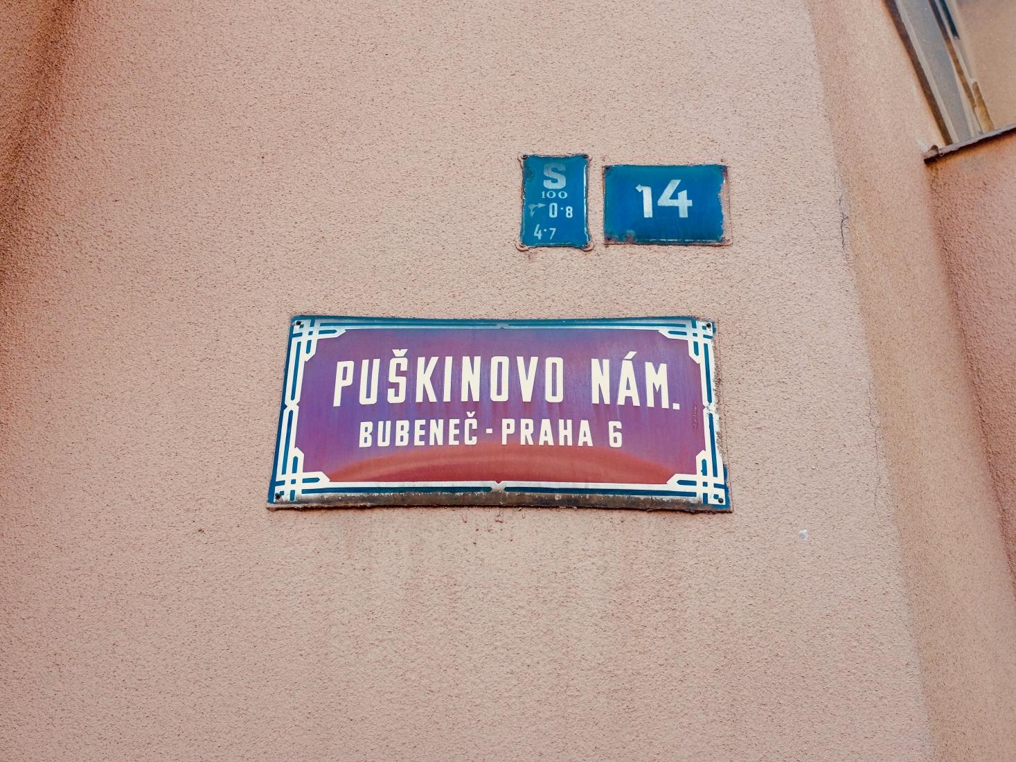 Pushkin Square, Puškinovo náměstí, in Prague, Bubeneč, named for Russian writer Alexander Pushkin, near Siberia Square, Sibiřské náměstí.