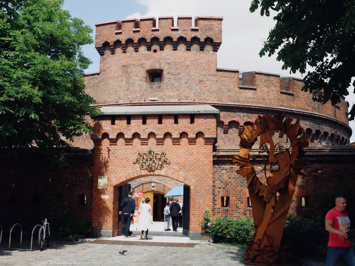 Red-brick Dohna Tower, part of Prussian Rossgarten Gate, now housing the Amber Museum, in Kaliningrad, Russia.