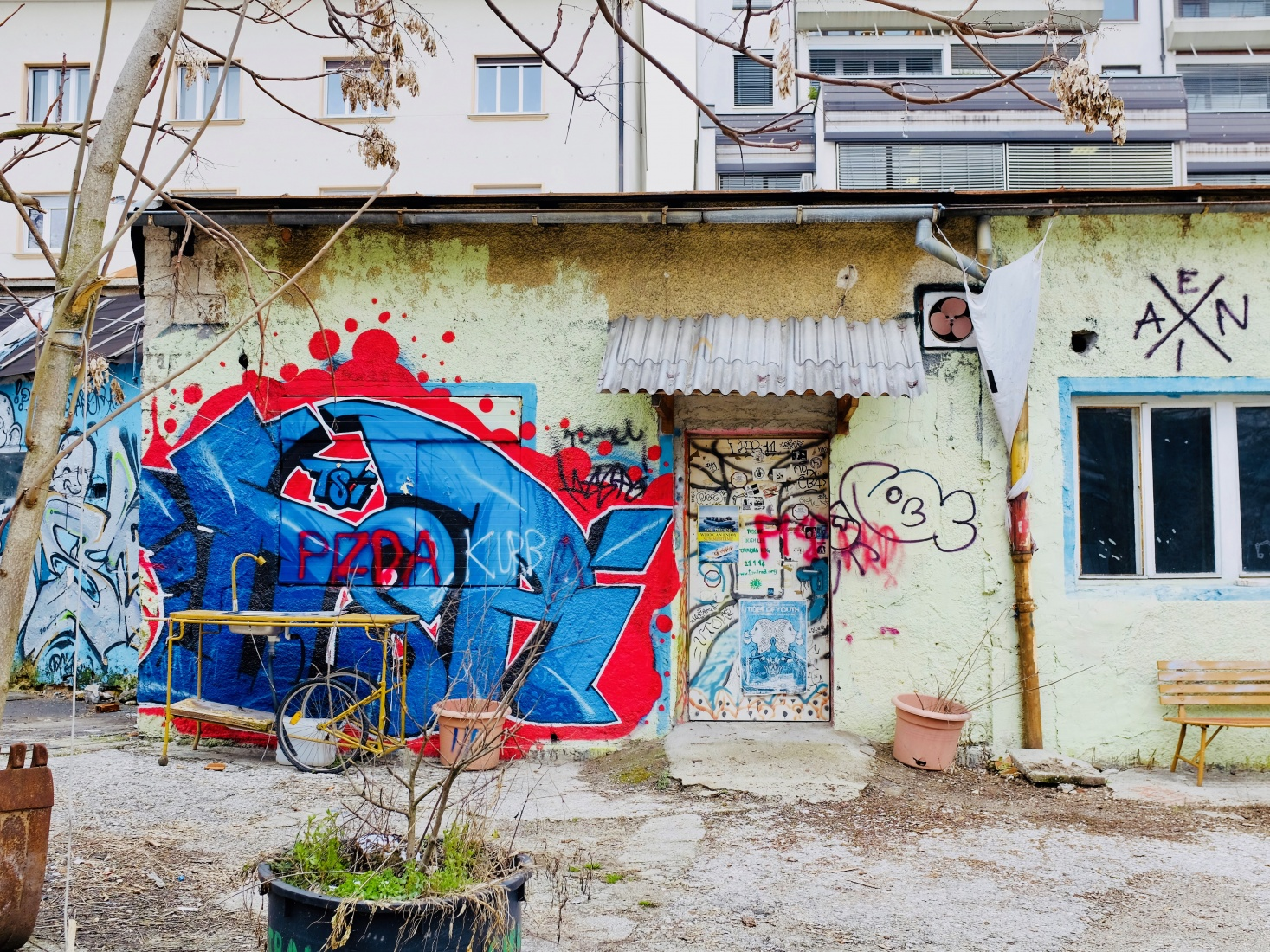 Exterior of the Rog squat, covered with graffiti and street art but keeping a secret about student and youth activities inside, in Ljubljana, Slovenia.