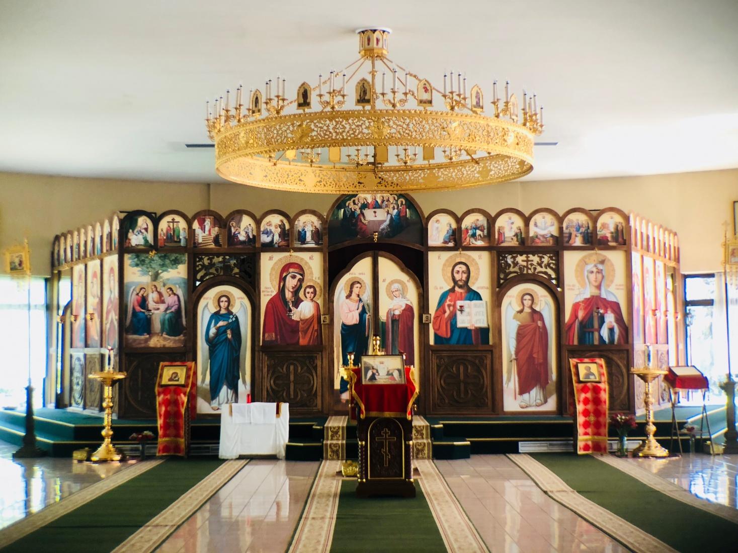 Inside Russian Orthodox Church of St Ludmila in Prague Bubeneč, near Siberia Square, Sibiřské náměstí, notable for unique circular architecture.