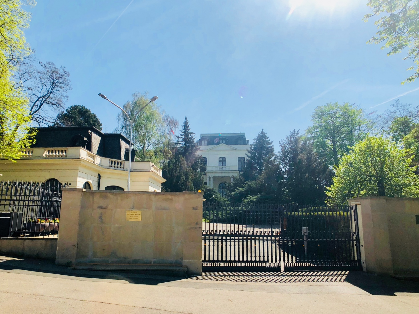 Gate to the Russian embassy compound in Prague, near Stromovka, and the villa inside.