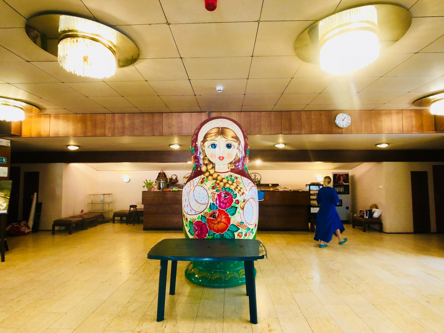 Lobby of Russian Rossotrudnichestvo, the Russian Center for Science and Culture, in Prague, Bubeneč, with a giant matryoshka doll statue.