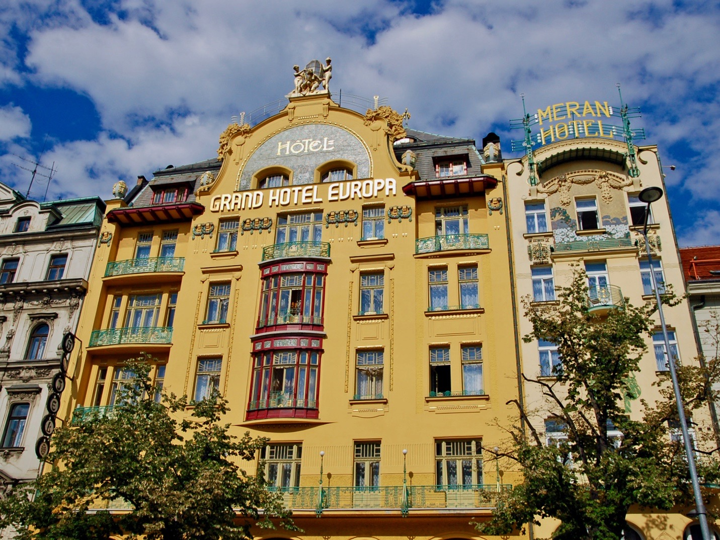 Hotel Evropa on Wenceslas Square, Prague. with an Art Nouveau facade from 1905.