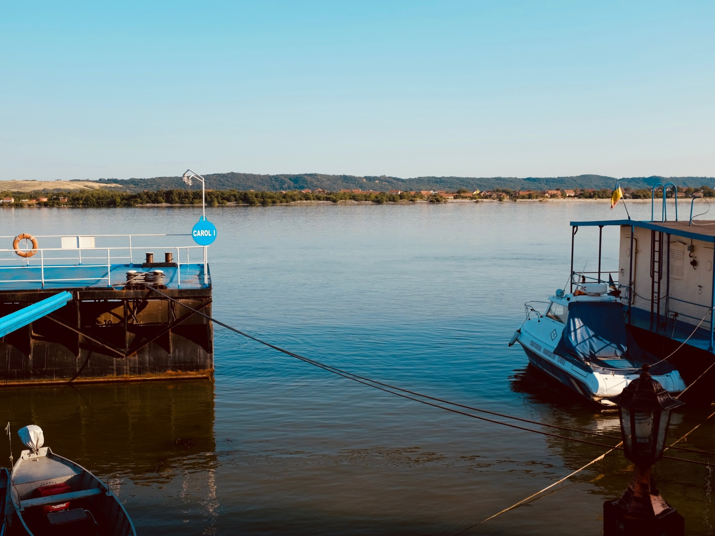 A quiet evening at a dock on the river from the Romanian port of Drobeta-Turnu Severin on the Danube.